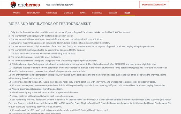 Put Rules of the Tournament on page.